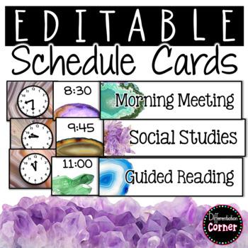 Editable Schedule Cards- Agate Classroom Decor