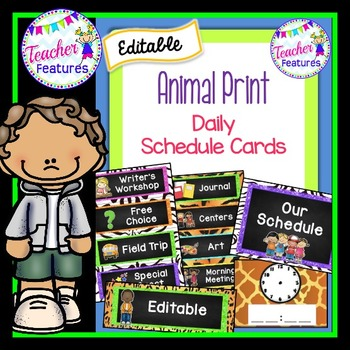 Editable Schedule Cards- Animal Print Theme