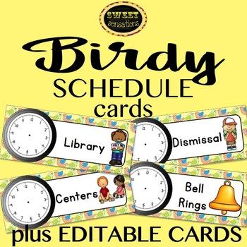 Editable Schedule Cards (Bird Theme)