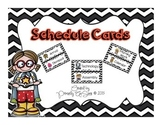 Editable Schedule Cards (Black and White Chevron Version)