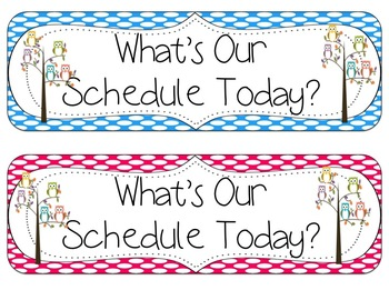 Editable Schedule Cards (Brights & Polka Dots)