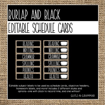 Editable Schedule Cards-(Burlap and Black)