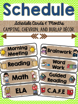 Editable Schedule Cards {Camping, Burlap, Chevron}