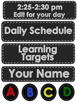 Editable Schedule Cards- Chalkboard Style