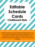 Editable Schedule Cards- Chalkboard Style
