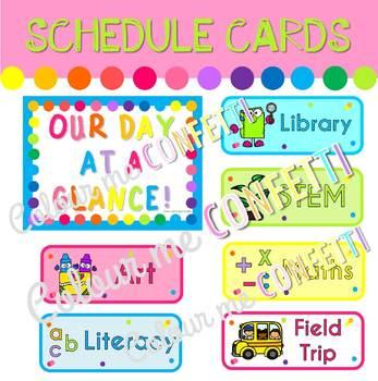 Editable Schedule Cards - Colour me Confetti