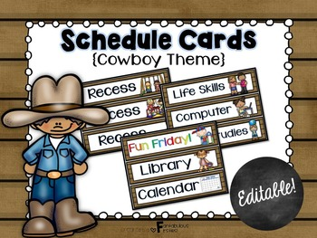 Schedule Cards for the Classroom Cowboy Theme