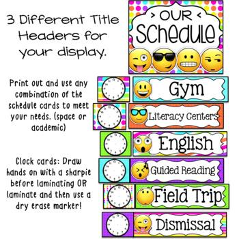 Editable Schedule Cards Emoji Classroom Decor