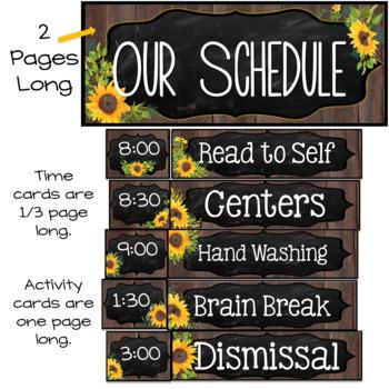 Editable Schedule Cards- Farmhouse Classroom Decor