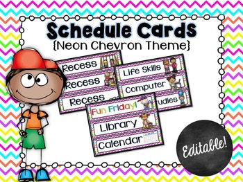 Schedule Cards for the Classroom Neon Chevron Theme