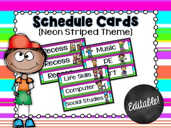Schedule Cards for the Classroom Neon Striped Theme