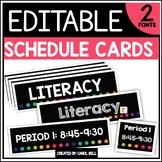 Editable Class Schedule Cards (Rainbow Series)
