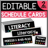 Editable Class Schedule Cards (Rainbow Series)