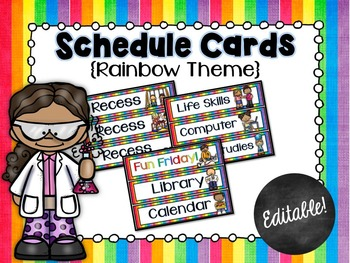 Schedule Cards for the Classroom Rainbow Theme