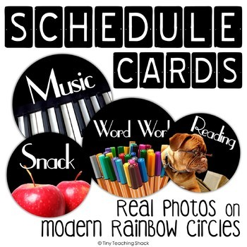 Editable Schedule Cards- Real Pictures on Black Circles