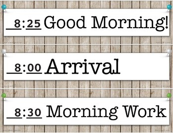 Editable Schedule Cards - Rustic Farmhouse Chic