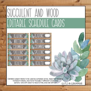 Editable Schedule Cards-(Succulent and Wood)