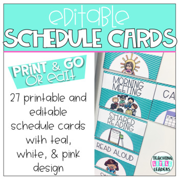 Editable Schedule Cards: Teal