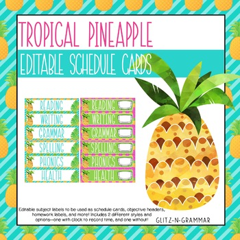 Editable Schedule Cards-(Tropical Pineapple)