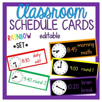Editable Schedule Cards - White/Black Rainbow Set