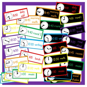 Editable Schedule Cards - White/Black Rainbow Set