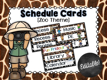 Schedule Cards for the Classroom Zoo Animal Theme
