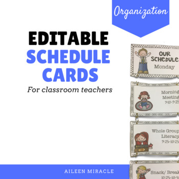 Editable Schedule Cards for Classroom Teachers