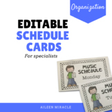 Editable Schedule Cards for Music, PE, Library, and Art Teachers