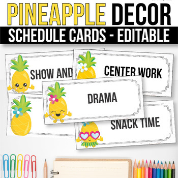 Editable Schedule Cards with Clipart, Daily Schedule Cards, Pineapple Classroom
