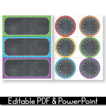 Editable Schedule Cards with Clipart, Daily Schedule Cards, Polka Dot Chalkboard