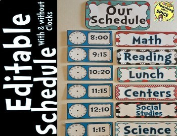 Daily Schedule- Back to School - Dr. Seuss, Mickey, Carnival, Polka-Dots Theme