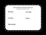 Editable Schedule & Teacher is Out Door Signs