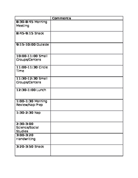 Editable Schedule with Comments
