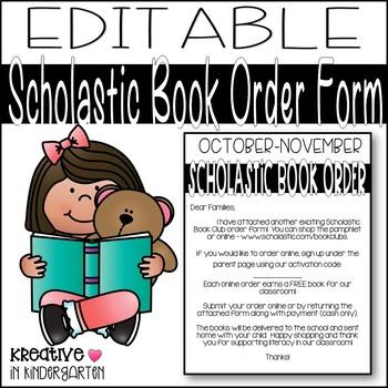 Editable Scholastic Book Order Letter
