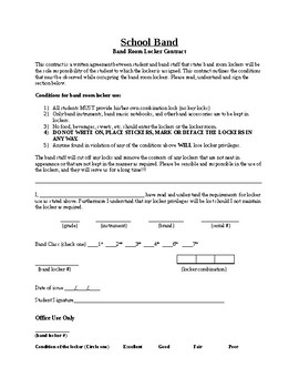 Editable School Band Locker Contract