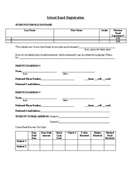 Editable School Band Registration Form