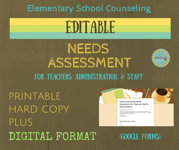 Editable School Counseling Needs Assessment in Hard Copy &