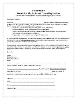 Editable School Counseling Permission Slip