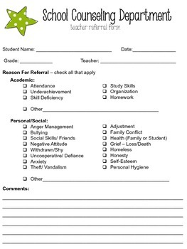 Editable School Counseling Teacher Referral Form