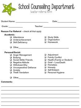Editable School Counseling Teacher Referral Form