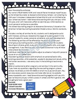 Editable School Counselor Informational Letter for Parents and Staff