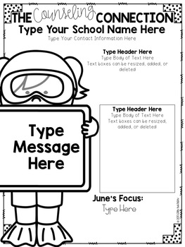Editable School Counselor Newsletter templates (2nd version)