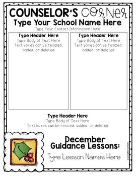 Editable School Counselor Newsletter templates