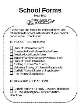 Editable School Forms Checklist