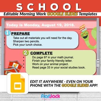 editable school morning work google slides templates tpt