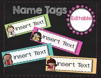 Editable School Name Tags