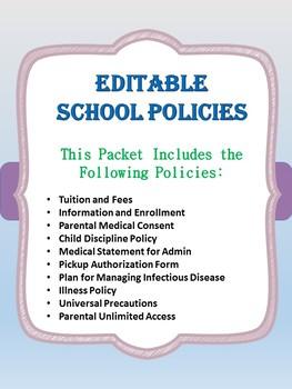 Editable School Policies-Enrollment and Information