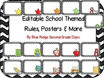 Editable School Rules Posters