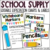 Editable School Supply Labels and Expectations for Classroom Organization