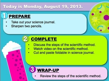 Editable Science Themed Morning Objectives Seat Work PowerPoint Templates